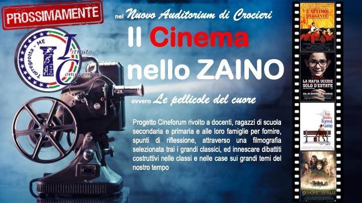 """Prossimamente """"Il Cinema nello zaino"""", progetto cineforum per studenti e famiglie"""